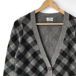 Madewell Wallace 100% Merino Wool Plaid Cardigan